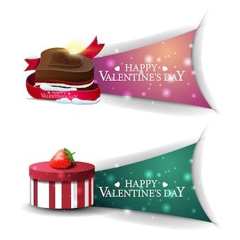 Bandiere di san valentino con regali e caramelle al cioccolato