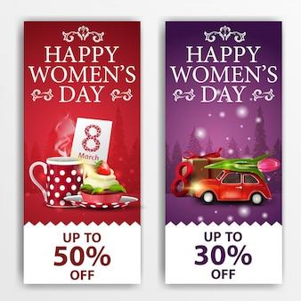 Bandiere di sconto giorno delle donne con cupcake e auto con tulipano