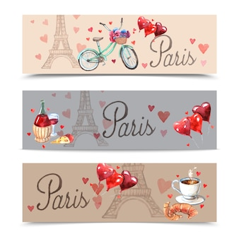 Bandiere di simboli dell'acquerello di parigi