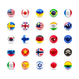 Bandiere di stati sovrani proiettate come sfere lucide su uno sfondo bianco