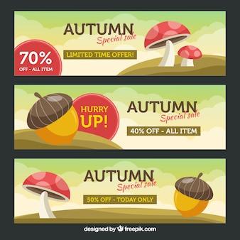 Bandiere di vendita autunno con design piatto