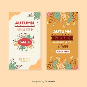 Bandiere di vendita autunno disegnato a mano