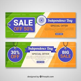 Bandiere di vendita dell'indipendenza indiana con etichette