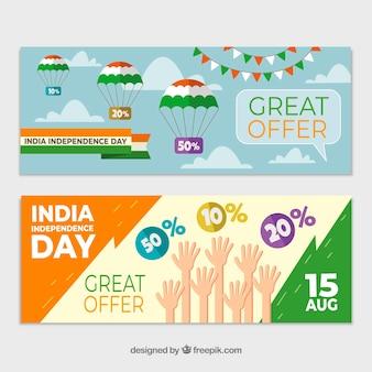 Bandiere di vendita di giorno dell'indipendenza dell'india con design piatto
