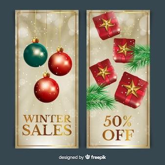 Bandiere di vendita di inverno moderno con design realistico