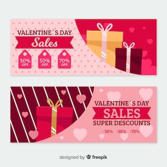 Bandiere di vendita di san valentino piatto