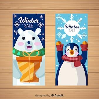 Bandiere di vendita inverno piatto