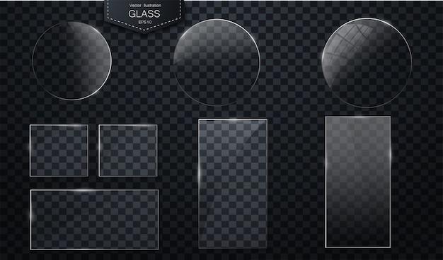 Bandiere di vetro di vettore su sfondo trasparente distintivi di plastica o piastre con trasparenza