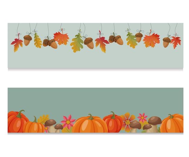 Bandiere di vettore con foglie di autunno, zucche, funghi, ghiande e fiori per il ringraziamento web