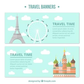 Bandiere di viaggio con monumenti in design piatto