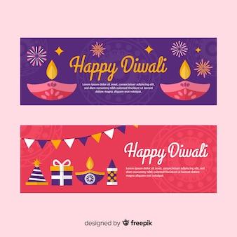 Bandiere di web colorato di diwali con design piatto