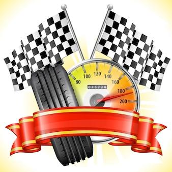 Bandiere e pneumatici da corsa