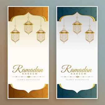 Bandiere eleganti di festival di ramadan kareem