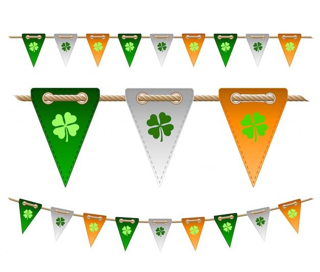 Bandiere festive colorate con trifogli