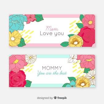 Bandiere floreali della festa della mamma