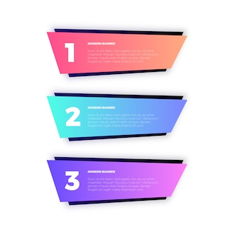 Bandiere geometriche colorate per infografica