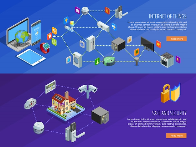 Bandiere isometriche di internet of things