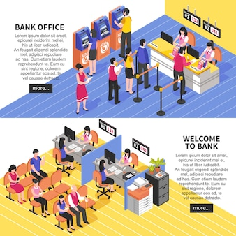 Bandiere isometriche orizzontali della banca