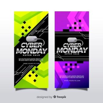 Bandiere moderne di cyber-lunedì con design realistico