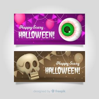 Bandiere moderne di halloween con un design realistico