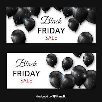 Bandiere moderne di venerdì nero con palloncini realistici