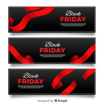 Bandiere moderne di venerdì nero con stile elegante