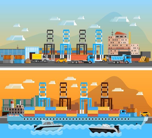 Bandiere orizzontali del porto merci