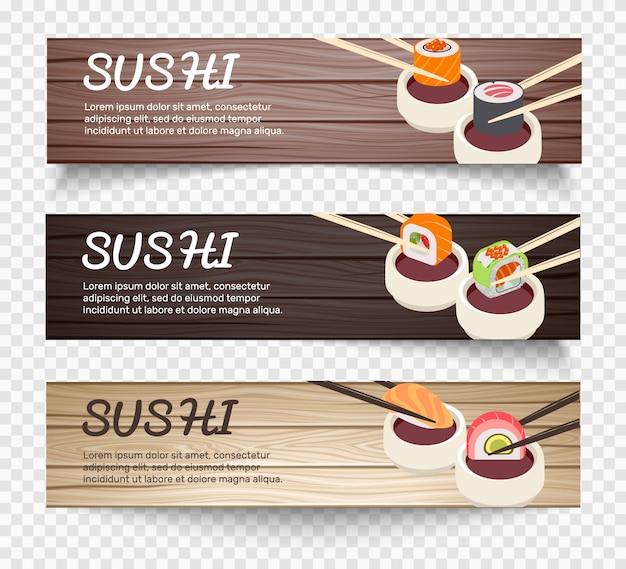 Bandiere orizzontali di cibo giapponese