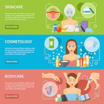 Bandiere orizzontali di procedure di cosmetologia e benessere