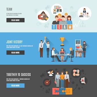 Bandiere orizzontali interattive piatte di gestione di lavoro di squadra