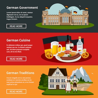 Bandiere orizzontali piatte germania