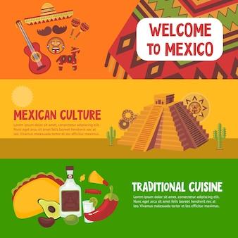 Bandiere orizzontali variopinte del messico con tradizionale culturale della cucina messicana