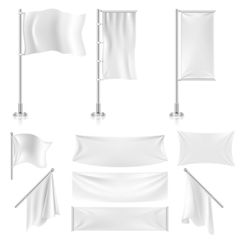 Bandiere tessili pubblicitarie bianche realistiche