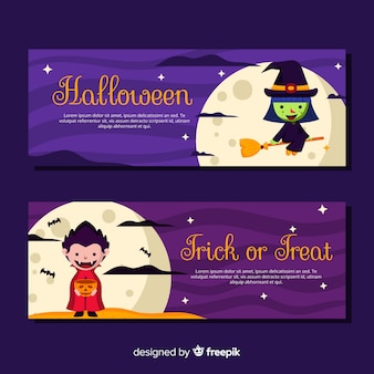 Bandiere variopinte di halloween con design piatto