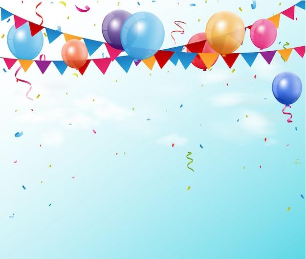 Bandiere variopinte e palloni della stamina di compleanno con spazio per il vostro testo