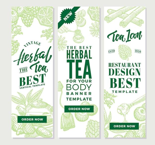 Bandiere verticali del tè sano di schizzo