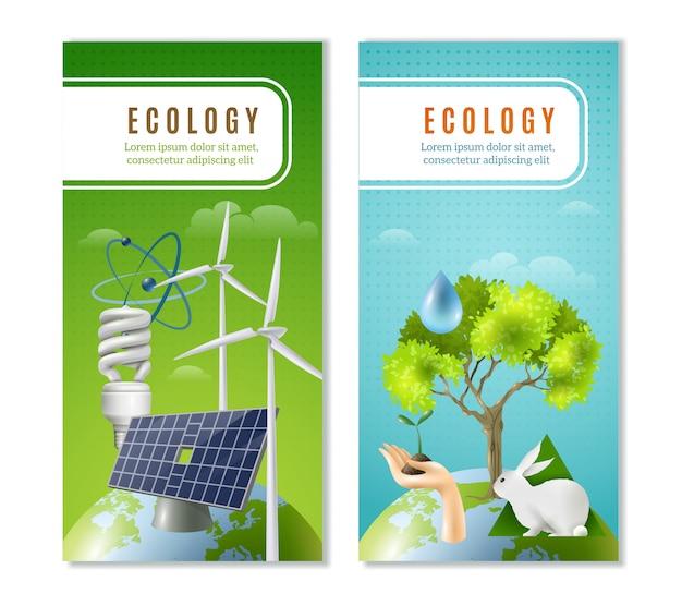Bandiere verticali di energia verde di ecologia