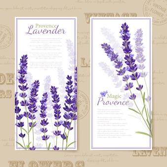 Bandiere verticali di fiori di lavanda