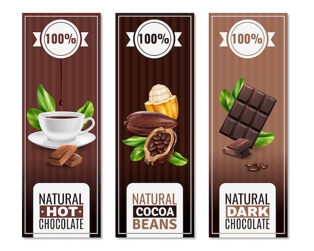 Bandiere verticali di prodotti di cacao realistici