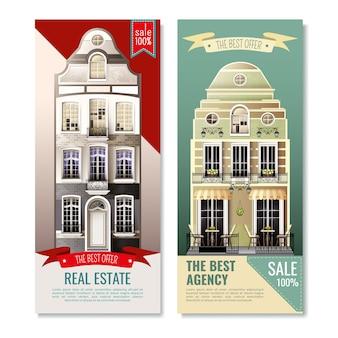 Bandiere verticali di vecchie case europee della facciata