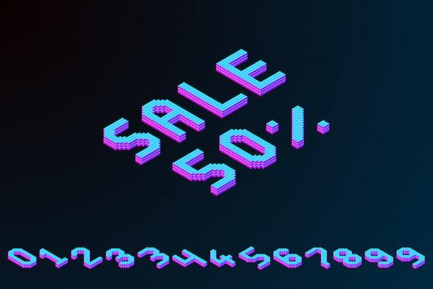 Banner 3d pixel isometrico colorato grassetto