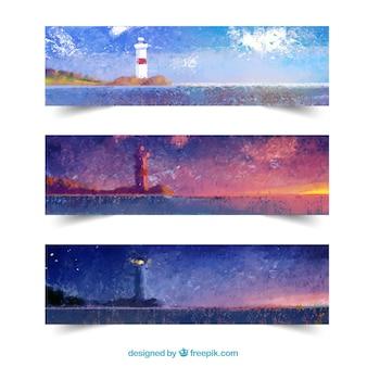 Banner acquerello lighthouse