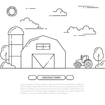 Banner agriturismo. paesaggio agricolo con fienile, mulino a vento, trattore.