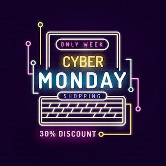 Banner al neon cyber lunedì