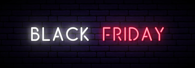 Banner al neon del black friday.