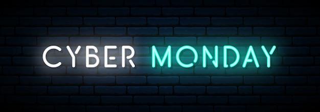 Banner al neon del cyber monday.