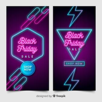 Banner al neon di venerdì nero