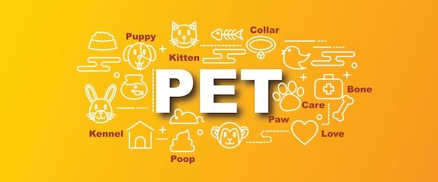 Banner alla moda di vettore dell'animale domestico