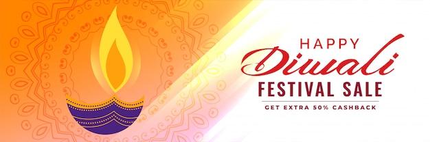Banner artistico di vendita di diwali con decorazione diya