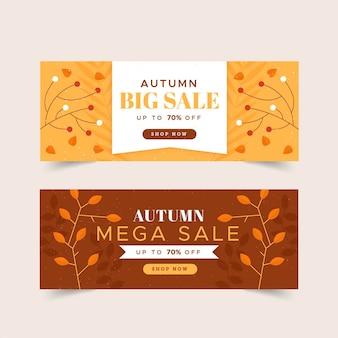 Banner autunno design piatto
